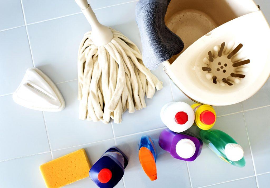 Cleaning solutions with a mop laid out on a bathroom floor