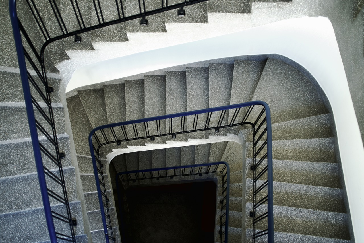 Staircase with terrazzo flooring