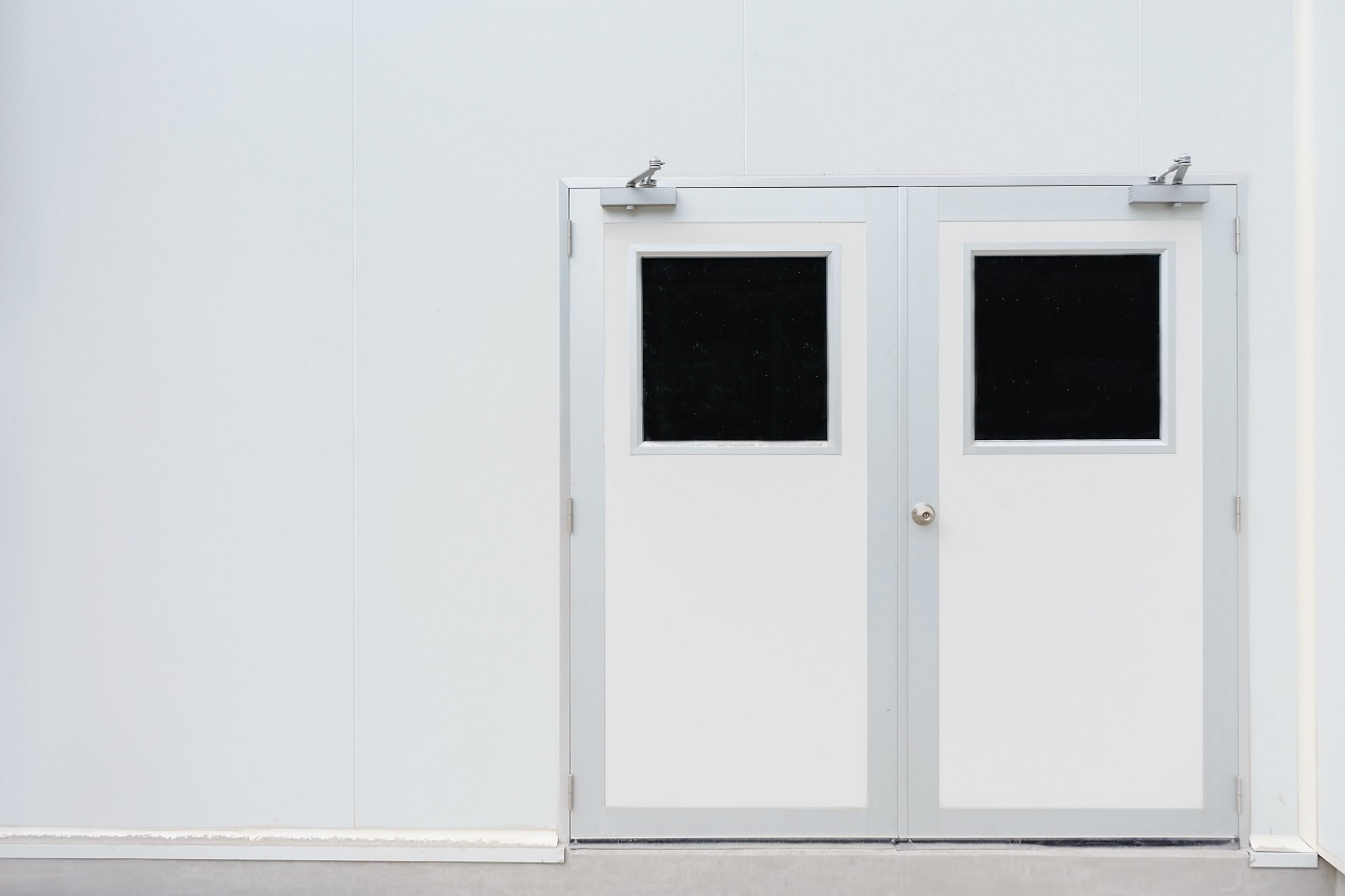 Doors to a pharmaceutical factory