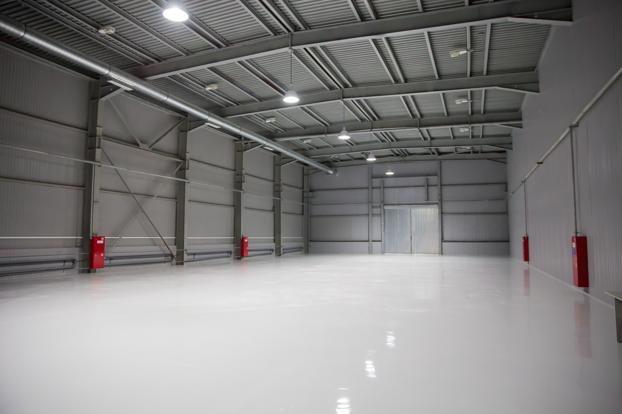 A warehouse with concrete floors