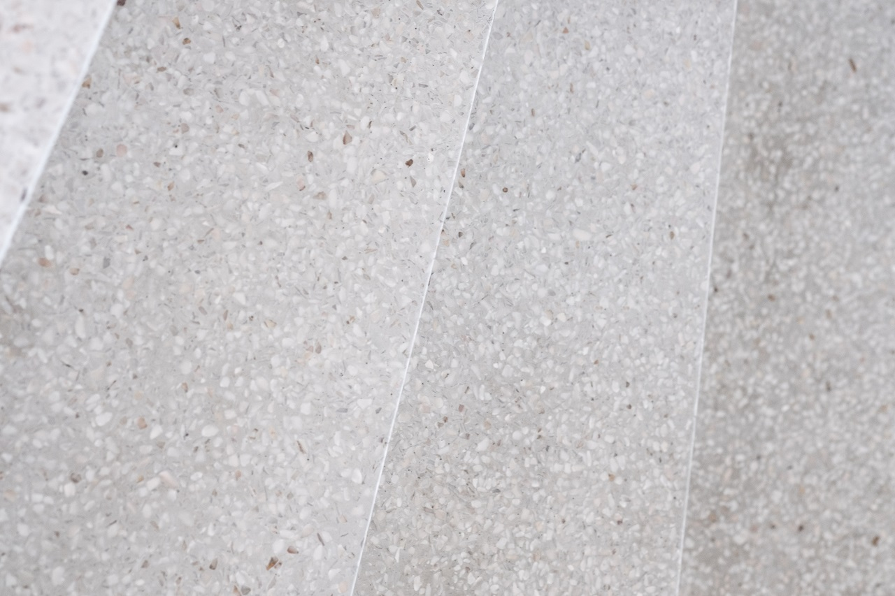 Close up of terrazzo polished floor
