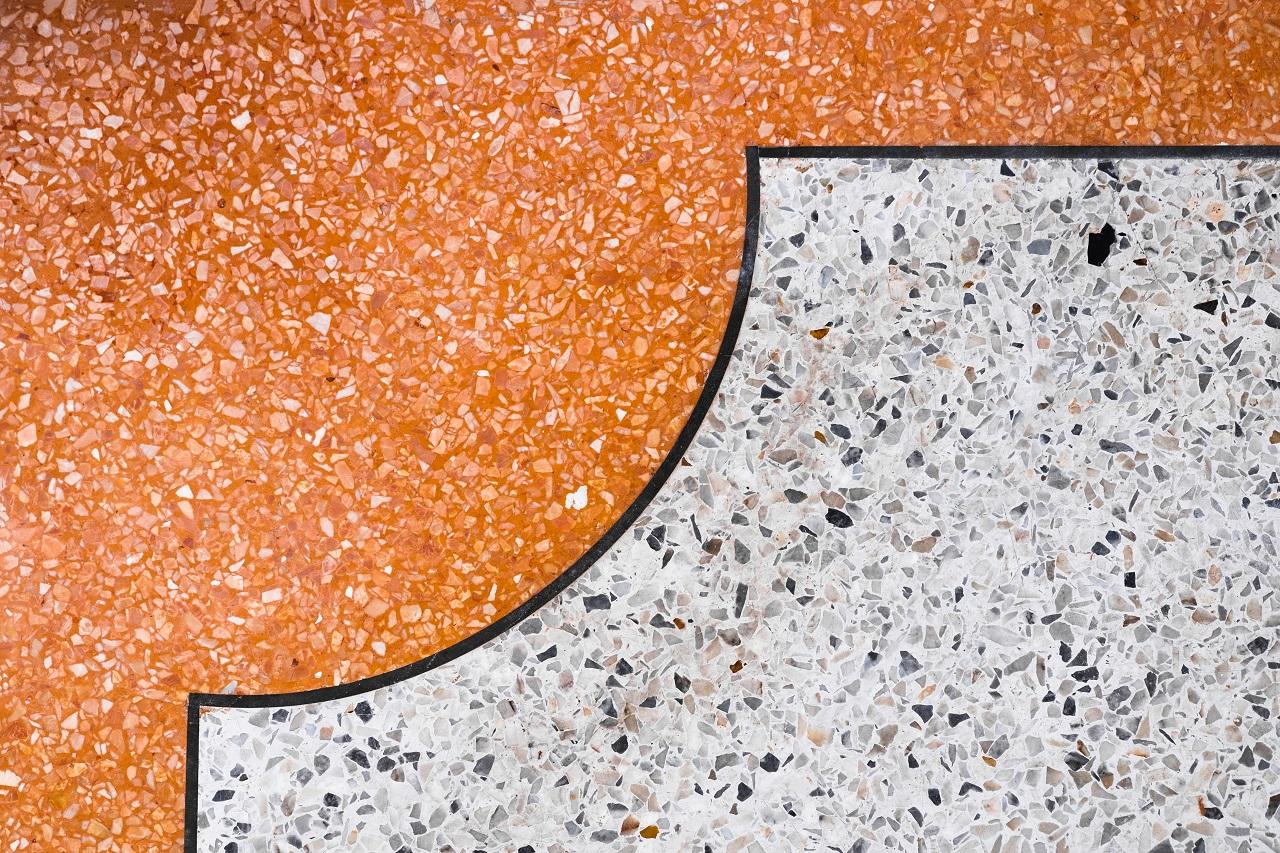 Close up of terrazzo floor with designs