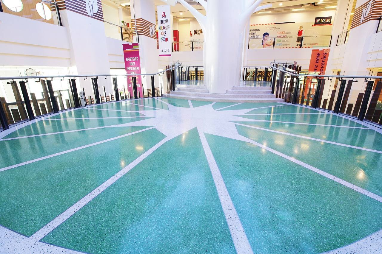 White and green epoxy mall flooring