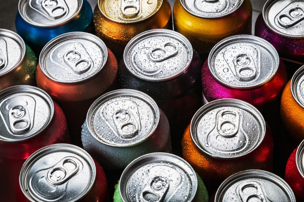 Top shots of aluminum cans of softdrinks