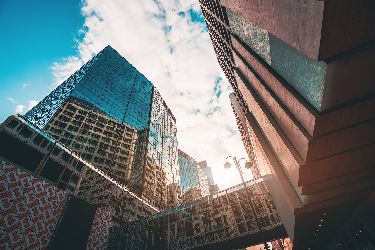 A towering skyscraper