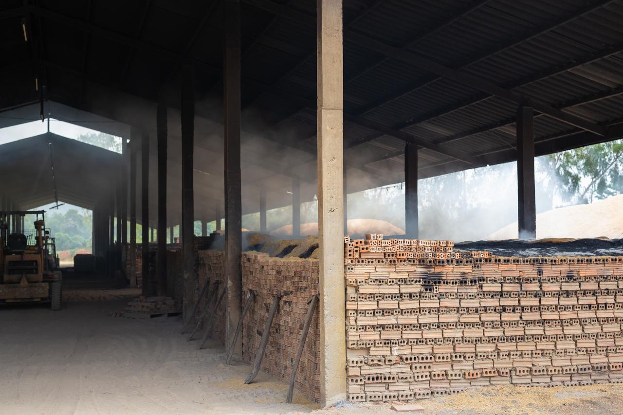 A dusty brick factory