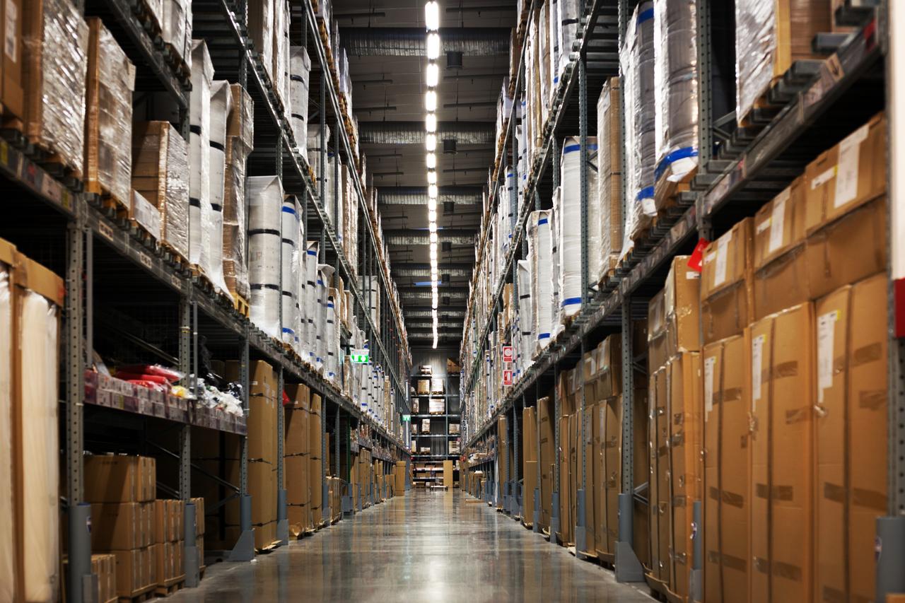 Stacks of warehouse goods