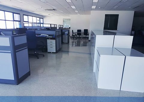 An office with epoxy flake flooring