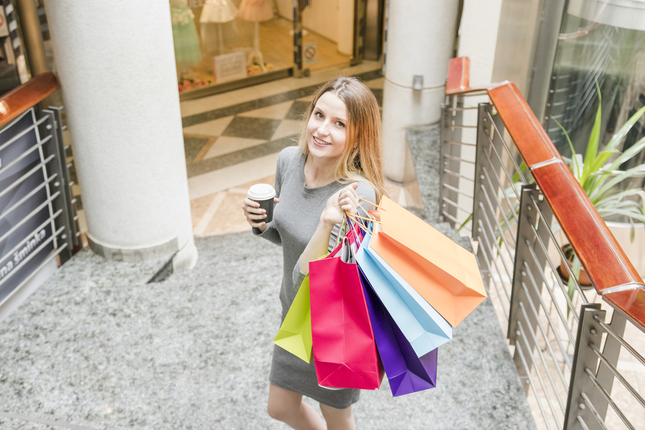 A woman shopping in the mall